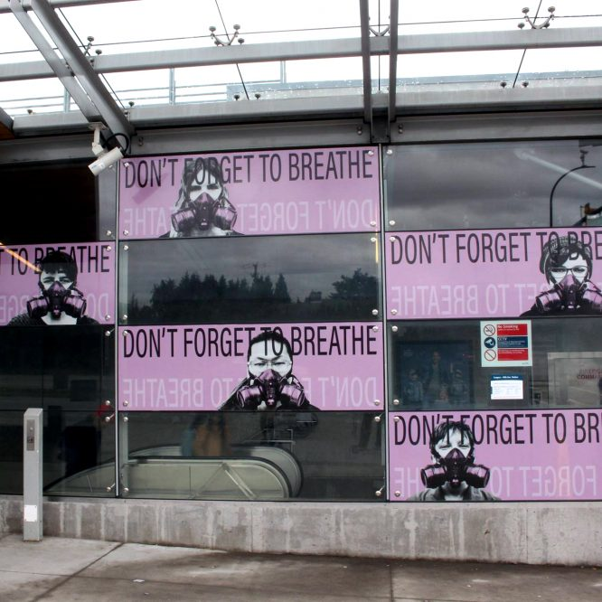 Photo: of an art installation called Langara – 49th: Don't forget to to Breathe